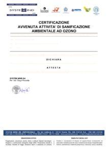 Certificato OZONOsystem Sanificato